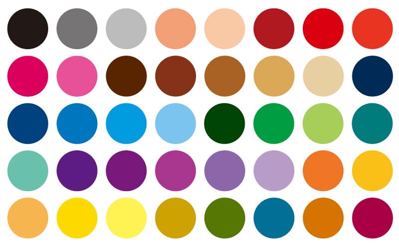 ハイブリットプリント専用インクのカラー見本